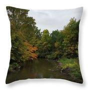 Clinton River In Autumn Cloudy Day Throw Pillow