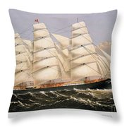 Clipper Ship, 1875 Throw Pillow