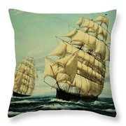 Clipper Ships Racing To Port Throw Pillow