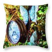 Clock And Butterflies R1 3580vt - Photo Art Throw Pillow