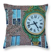 Clock At Port Warwick Throw Pillow