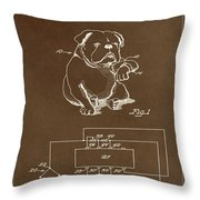 Clock For Keeping Animal Time Patent Drawing 1c Throw Pillow