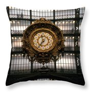 Clock Musee D'orsay Throw Pillow