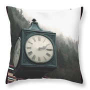 Clock Raven Throw Pillow