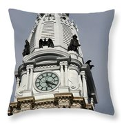 Clock Tower City Hall - Philadelphia Throw Pillow