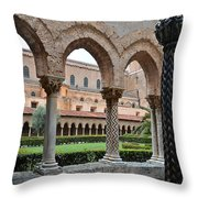 Cloister Of The Abbey Of Monreale. Throw Pillow