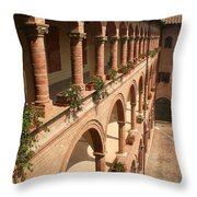 Cloistered Courtyard Throw Pillow