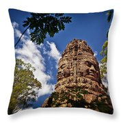 Cloning Out Tourists At Ta Prohm Temple, Angkor Archaeological Park, Siem Reap Province, Cambodia Throw Pillow