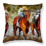 Close Race Throw Pillow