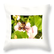 Close Up Bumble Bee Climbing Out Of Hibiscus Flower Throw Pillow