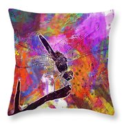 Close Up Dragonfly Insect Macro  Throw Pillow