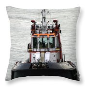Close Up Of A Tugboat In Venice Harbor Throw Pillow