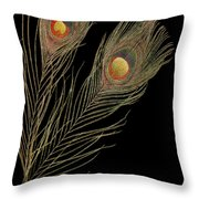 Close Up Of An Abstract Peacock Feather Throw Pillow