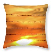 Close-up Of Barbed Wire At Sunset  Throw Pillow