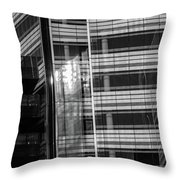 Close Up Of Black And White Glass Building Throw Pillow