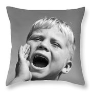 Close-up Of Boy Shouting, C.1950s Throw Pillow