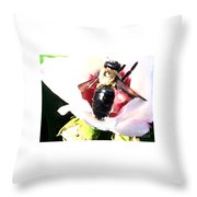 Close Up Of Bumble Bee On Flower Throw Pillow