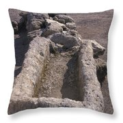 Close Up Of Excavations In The Ancient Throw Pillow