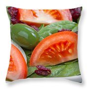 Close Up Of Fresh Spinach Salad On White Plate  Throw Pillow