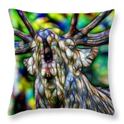 Close Up Of Huge Male Elk Bugling Throw Pillow