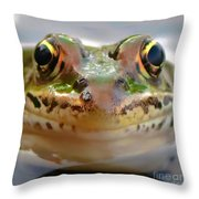 Close-up Of Leopard Frog Throw Pillow