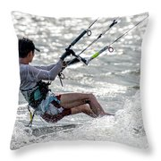 Close-up Of Male Kite Surfer In Cap Throw Pillow