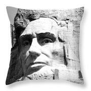 Close Up Of President Abraham Lincoln On Mount Rushmore South Dakota Black And White Throw Pillow