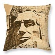 Close Up Of President Abraham Lincoln On Mount Rushmore South Dakota Rustic Digital Art Throw Pillow