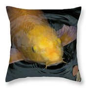 Close Up Of Single Large Yellow Koi Fish With Whiskers Throw Pillow