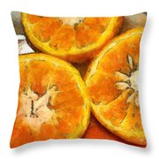 Close Up Of The Cut Section Of Some Oranges Throw Pillow