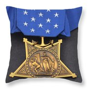 Close-up Of The Medal Of Honor Award Throw Pillow