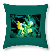 Close Up Of Yellow Wild Flowers Throw Pillow