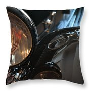 Close Up On Black Shining Car Round Light Throw Pillow