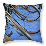 Close Up On Many Wheels From Bicycles  Throw Pillow