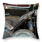 Close Up On Vintage Black Shining Car Throw Pillow