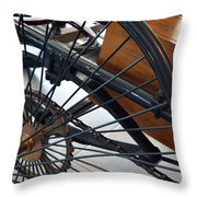 Close Up On Vintage Wheel Of Bicycle  Throw Pillow