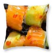 Close Up Sushi In Plate Throw Pillow by Deyan Georgiev