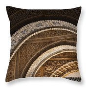 Close-up View Of Moorish Arches In The Alhambra Palace In Granad Throw Pillow