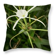 Close Up White Asian Flower With Leafy Background, Vertical View Throw Pillow