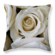 Close Up White Roses Throw Pillow