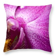 Close View Of A Pink Orchid Blossom Throw Pillow