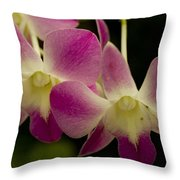 Close View Of A Pink Orchid Flowers Throw Pillow