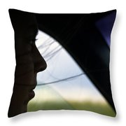 Close View Of A Woman Driving A Car Throw Pillow
