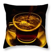 Close View Of Coffee Being Poured Throw Pillow