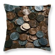 Close View Of United States Coins Throw Pillow