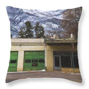 Closed Service Station Painterly Impressions Throw Pillow