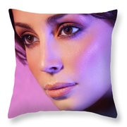 Closeup Beauty Portrait Of Woman Face In Colored Purple Light Throw Pillow