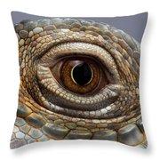 Closeup Eye Of Green Iguana Throw Pillow by Sergey Taran
