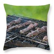 Closeup Kebabs Throw Pillow
