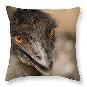 Closeup Of A Captive Emu Throw Pillow